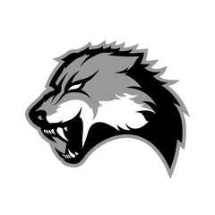 Furious wolf sport vector logo concept isolated on white background. Modern predator professional team badge design.
