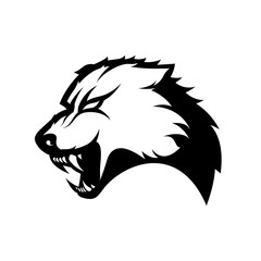 Furious wolf mono sport vector logo concept isolated on white background. Modern predator professional team badge design.