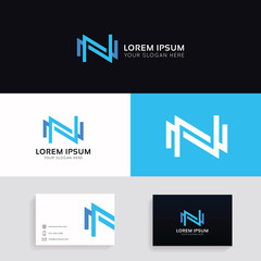 Letter N logo icon company sign vector design with brand business card