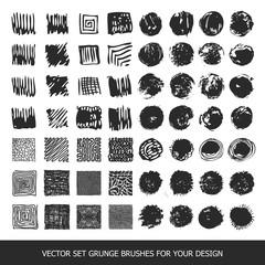 Painted grunge stripes set. Black labels, paint texture. Brush strokes vector. Background handmade design elements.
