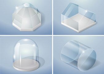 Set of glass forms of sphere, flask, arch and cylinder. Vector graphics with transparency effect