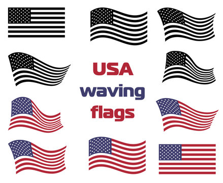 Waving USA national flag set vector black and white and color