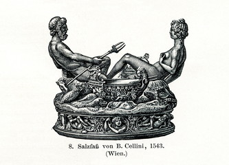 Cellini Salt Cellar, 1543 (from Meyers Lexikon, 1895, 7/736/737)
