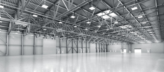 In de dag Industrial geb. Empty warehouse. 3d illustration