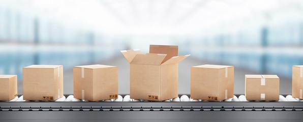Pacchi o scatole da spedizione su rullo