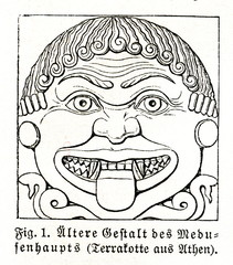 Archaic head of Medusa (from Meyers Lexikon, 1895, 7/766)