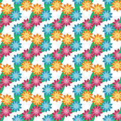 Flower and leaf seamless pattern