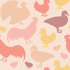 Seamless pattern with farm birds