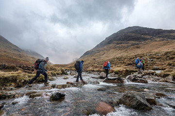 UK, Scotland, Glencoe, trekking at Sron na Lairig