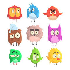 Little Cute Bird Chicks Set Of Cartoon Characters in Geometric Shapes, Stylized Cute Baby Animals