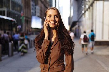 Young Business Woman in Manhattan . New York City . US