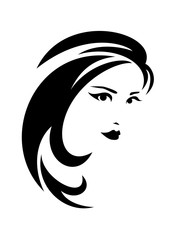 brunette woman with long hair vector design
