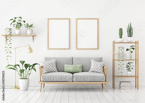 Scandinavian Style Poster Mock Up With Two Vertical Frames Sofa And