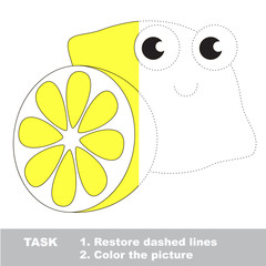 Lemon to be colored. Vector trace game.