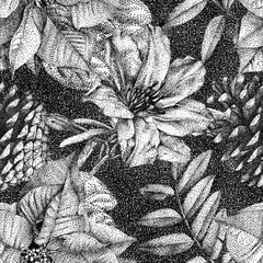 Seamless pattern with different flowers and plants drawn by hand with black ink. .Graphic drawing, pointillism technique. Can be used for pattern fills, wallpapers, web .page, surface textures