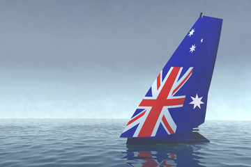 sailboat with sail colored as australian flag on the sea