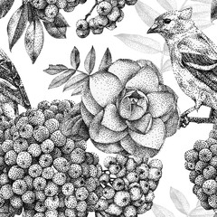 Seamless pattern with different flowers, birds and plants drawn by hand with black ink. .Graphic drawing, pointillism technique. Can be used for pattern fills, wallpapers, web .page, surface textures