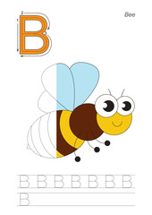 Half trace game for letter B. The bee.