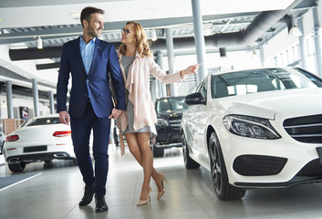 Couple looking for car in the showroom