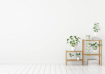 Empty white interior in scandinavian style with green plants in pots on wooden rack. 3d rendering.