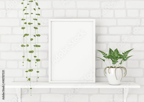 Vertical Frame Poster Mock Up With Green Plants On White Brick Wall Background 3d Rendering