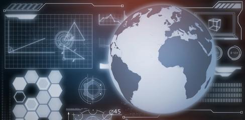 Composite image of world globe