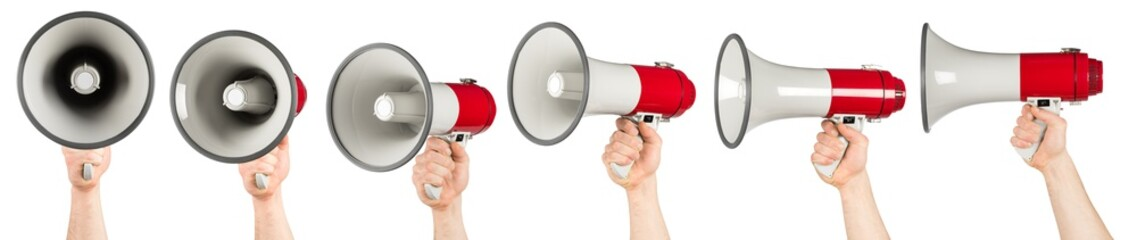 hand with red gray megaphone bullhorn set collection isolated on white background