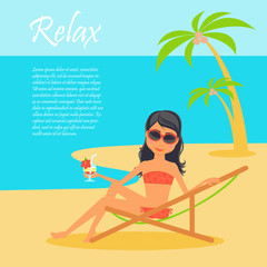 Girl character. Cartoon vector flat illustration travel. Tanned woman in a lounge chair on the shore of the ocean, dressed in swimsuit with a cocktail in hand. Vacation on the beach under palm trees.