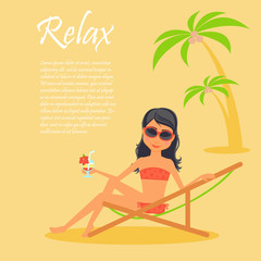 Girl character. Cartoon vector flat illustration travel. Tanned woman in a lounge chair, dressed in swimsuit drink cocktail. Vacation on the beach under palm trees.