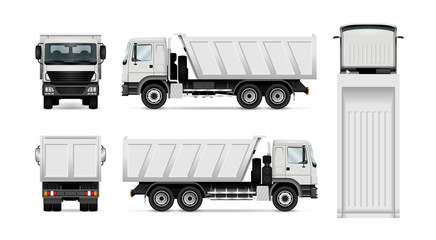 Vector dump truck. Isolated white tipper lorry. All elements in the groups have names, the view sides are on separate layers for easy editing. View from side, back, front and top.