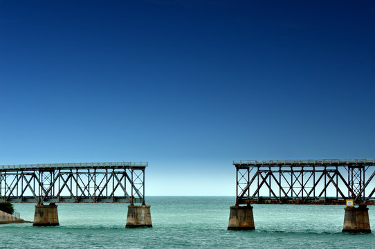 Old Railroad Bridge in the Bahia Honda State Park on the way to Key West, Florida