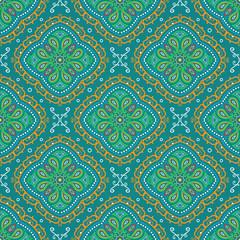 Vector bright seamless indian pattern, paisley mandala on turquoise
