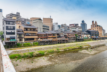 Classic Kyoto architecture and homes along the river, Japan