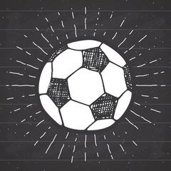 Vintage label, Hand drawn Football, soccer ball sketch, grunge textured retro badge, typography design t-shirt print, vector illustration on chalkboard background.