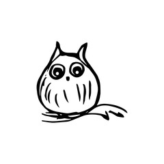 Owl on the branch graphics