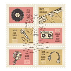 Vector postage stamps retro music equipment theme, canceled, decorative set for scrapbooking