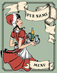 Vector illustration of vintage menu cover for pub or cafe, retro waitress in red dress holding tray with beer order, New Year and Christmas holidays Santa girl in red hat and with braids