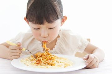 A girl having a meal