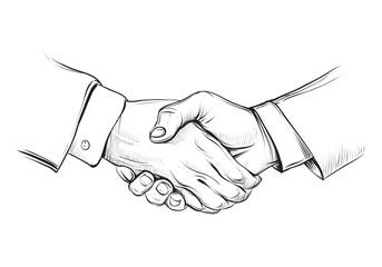 Handshake, hand drawn vector sketch illustration.