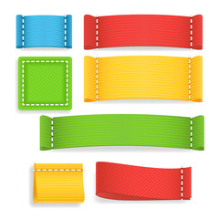 Color Label Fabric Blank Vector. Realistic Fabric Clothing Labels Set. Ready Template For Text And Design