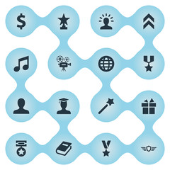 Vector Illustration Set Of Simple Prize Icons. Elements Present, World, Literature And Other Synonyms Earth, Conquering And Textbook.