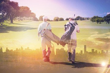 Composite image of friends walking together at golf course