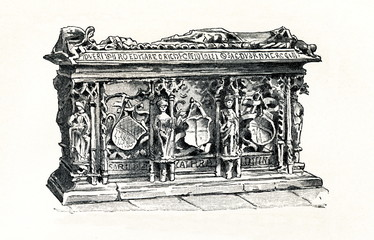 Tomb of Edith of England, Queen consort of Germany (16th century) (from Meyers Lexikon, 1895, 7/832/833)