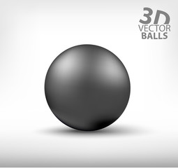 Dark grey realistic sphere single. 3D vector balls