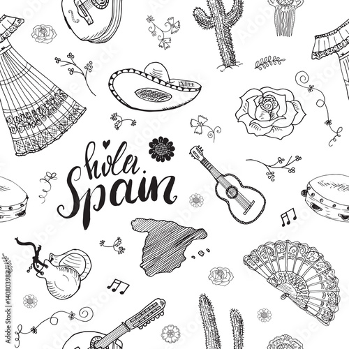 Spain seamless pattern doodle elements hand drawn sketch spanish spain seamless pattern doodle elements hand drawn sketch spanish traditional guitars dress and music voltagebd Gallery