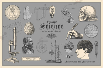 retro graphic design elements: vintage science - collection of vintage drawings featuring disciplines such as medicine, phrenology, chemistry, palm reading (chiromancy) and nautical navigation