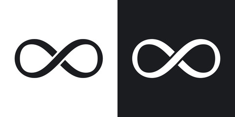 Vector infinity sign. Two-tone version on black and white background