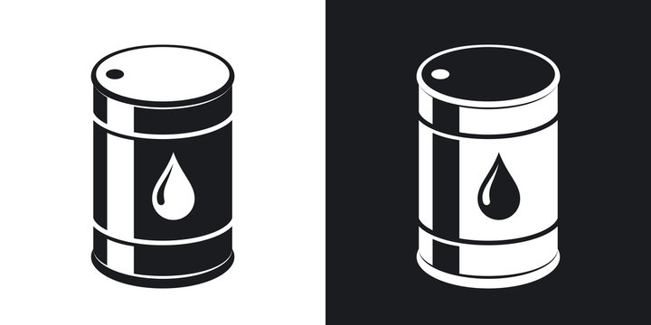Vector oil barrel icon. Two-tone version on black and white background