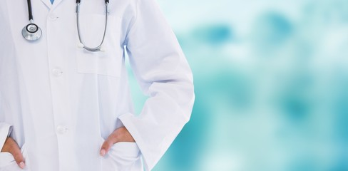 Composite image of female doctor standing with hands in pocket