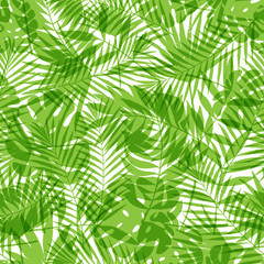 Printed roller blinds Tropical Leaves Summer tropical palm tree leaves seamless pattern. Vector grunge design for cards, web, backgrounds and natural product.